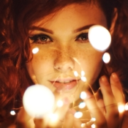Girl with light balls